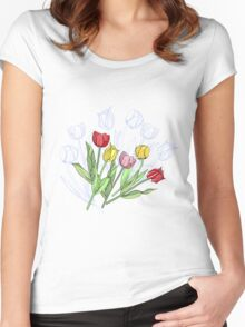 Bouquet with Red Yellow Tulips Women's Fitted Scoop T-Shirt
