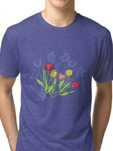 Bouquet with Red Yellow Tulips Tri-blend T-Shirt