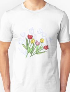 Bouquet with Red Yellow Tulips Unisex T-Shirt
