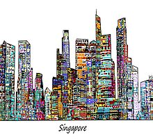 Singapore skyline by bri-b