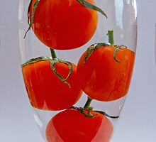 Tomatoes in a glass of water by Robert Gipson