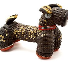 Dog made of beer bottle tops 1950s by Kawka