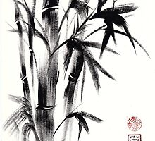 Compassion - Original Zen Spiritual Bamboo painting dedicated to the Dali Lama by Rebecca Rees