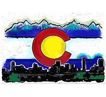 Artistic Denver Colorado skyline design Photographic Print