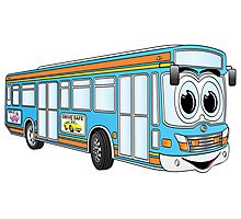 Blue City Bus Cartoon Photographic Print