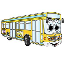 Yellow City Bus Cartoon Photographic Print