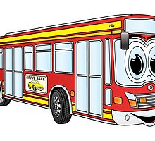 Red City Bus Cartoon by Graphxpro