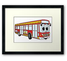 Red City Bus Cartoon Framed Print