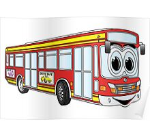 Red City Bus Cartoon Poster
