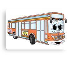 Orange City Bus Cartoon Canvas Print