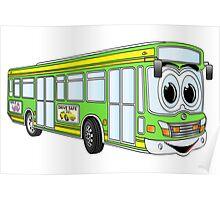 Green City Bus Cartoon Poster