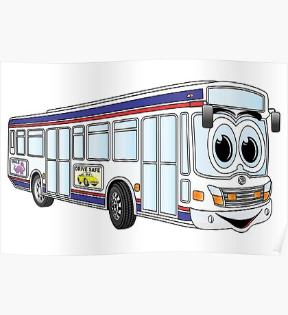 White City Bus Cartoon Poster