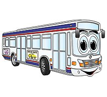 White City Bus Cartoon Photographic Print