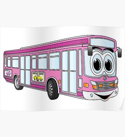 Pink City Bus Cartoon Poster