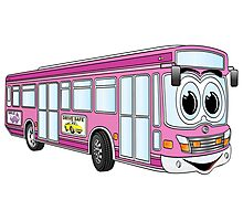 Pink City Bus Cartoon Photographic Print