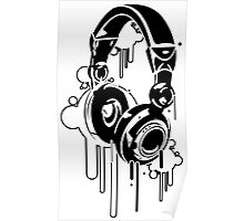 Grunge Headphones  Poster
