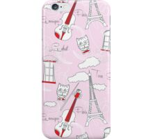 Pink Seamless pattern with music and city iPhone Case/Skin