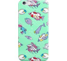 Seamless pattern  with color fishes and bubbles iPhone Case/Skin