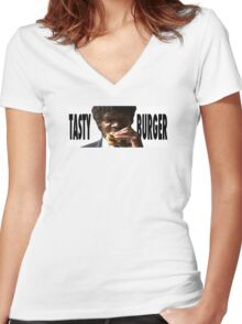 Pulp Fiction // Tasty Burger Women's Fitted V-Neck T-Shirt