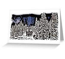Thick outline ski lift scenic print Greeting Card