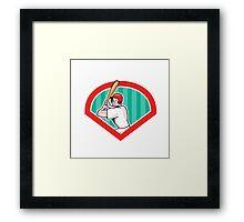 Baseball Player Batting Diamond Cartoon Framed Print