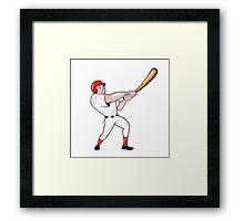 Baseball Player Swinging Bat Cartoon Framed Print