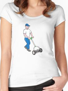 Gardener Mowing Lawn Mower Retro Women's Fitted Scoop T-Shirt
