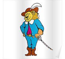 Musketeer Lion Hat Sword Cartoon Poster