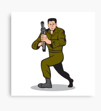 Soldier Aiming Sub-Machine Gun Cartoon Canvas Print