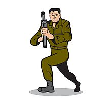 Soldier Aiming Sub-Machine Gun Cartoon Photographic Print