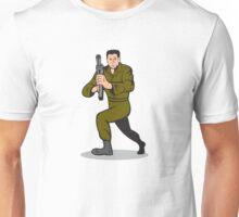 Soldier Aiming Sub-Machine Gun Cartoon Unisex T-Shirt
