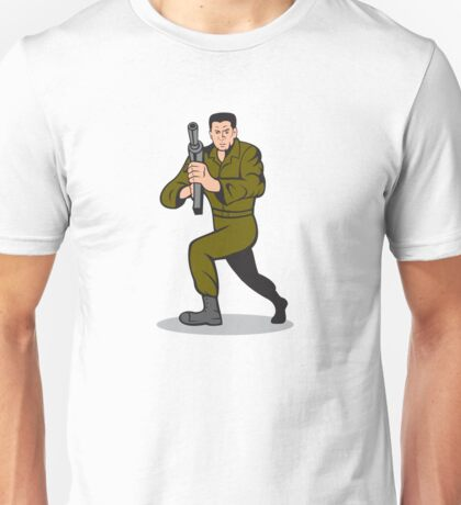 Soldier Aiming Sub-Machine Gun Cartoon Unisex T-Shirt