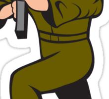 Soldier Aiming Sub-Machine Gun Cartoon Sticker