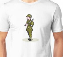 Military Police With Night Stick Baton Cartoon Unisex T-Shirt