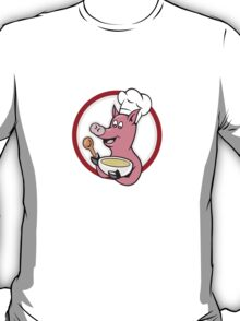 Pig Chef Cook Holding Bowl Cartoon T-Shirt