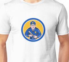 Policeman With Night Stick Baton Circle Unisex T-Shirt