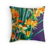 ABSTRACT DAFFODILS IN ORANGE Throw Pillow