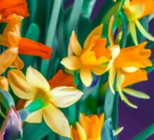 ABSTRACT DAFFODILS IN ORANGE Sticker