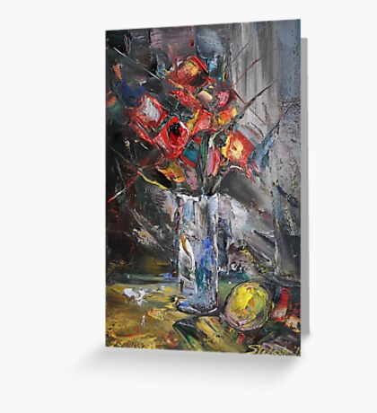 Still Life with Red Flowers Greeting Card