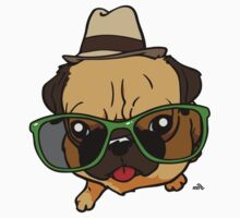 Hipster Pug cartoon dog by DogiStyle