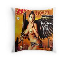Adventure Stories the Iron Angel from Hell Throw Pillow