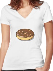 Chocolate Donut with Sprinkles Women's Fitted V-Neck T-Shirt