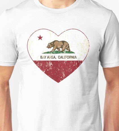 Bay Area California Love Heart Distressed Unisex T-Shirt
