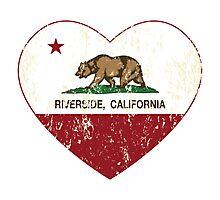 Riverside California Love Heart Distressed Photographic Print