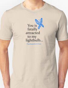 Blue Butterfly (black text) T-Shirt