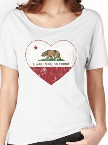 South Lake Tahoe California Love Heart Distressed Women's Relaxed Fit T-Shirt