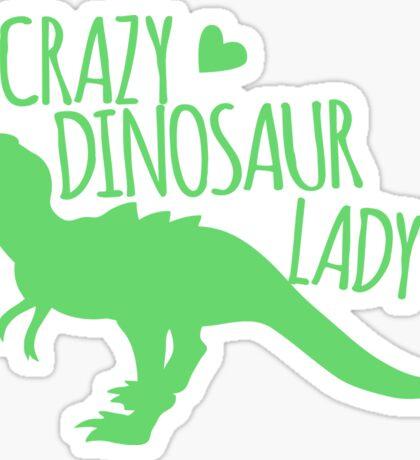 CRAZY dinosaur Lady in green Sticker