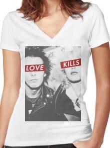 Love Kills - Sid & Nancy Women's Fitted V-Neck T-Shirt