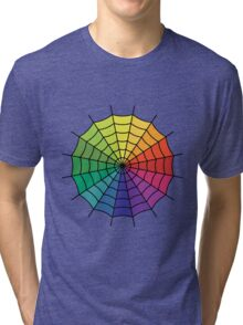Spider Web - Color Spectrum Segment Tri-blend T-Shirt
