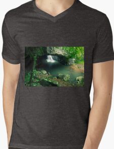 Natural Bridge Waterfall Mens V-Neck T-Shirt